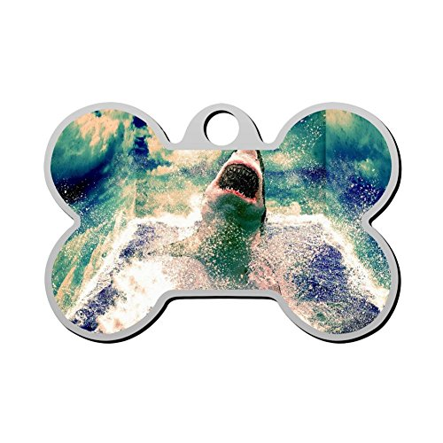 Reiligh Custom Scary Sharks Pet ID Tag Personalized Bone Shaped Dog Tags & Cat Tags 3D printing Funny Humorous Graphic -