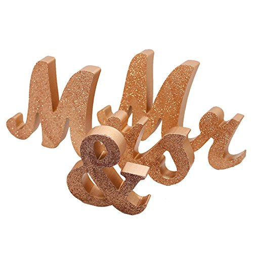 - Marsheepy Mr and Mrs Signs Wedding Sweetheart Table Decorations, Wooden Freestanding Letters Wedding Shower Gift (Rose Gold)
