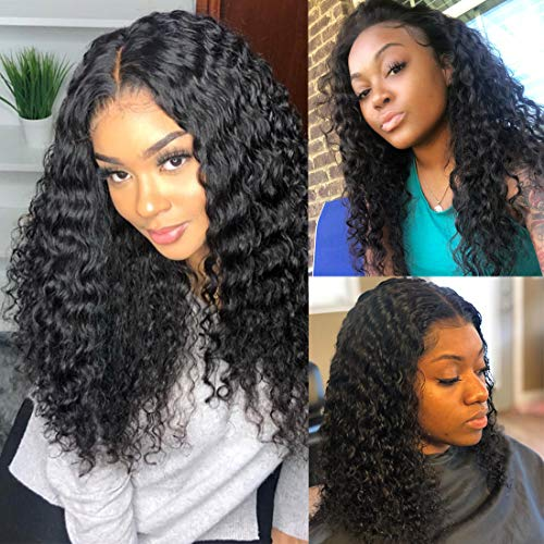BLY Water Wave Lace Front Wigs Human Hair with Baby Hair Brazilian Virgin Curly Hair 14 Inch for Black Women 150% Density Pre Plucked 13x4 Swiss Lace Size Part Natural Looking Jet Black Color