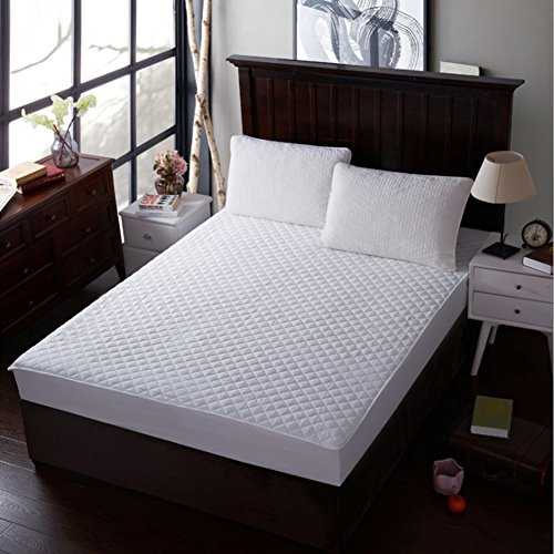 Queen Waterproof Pad Mattress (IB SOUND Queen Waterproof Quilted Cover Dust Mite Proof & Deep Pocket Fitted Skirt 18 Inch Breathable & Machine Washable Mattress Pad Protector, White)