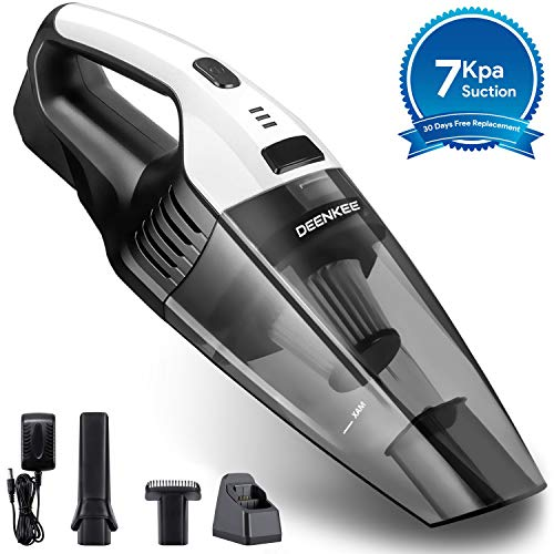 Deenkee Cleaner Hand Vac with 7 Kpa Suction, 14.8V Li-ion, Quick Charge Wet & Dry Handheld Vacuum Cordless for Home and Car Cleaning (Battery Detachable), 15.8in2.8in, Grey-White (Vacuum Car Wireless)