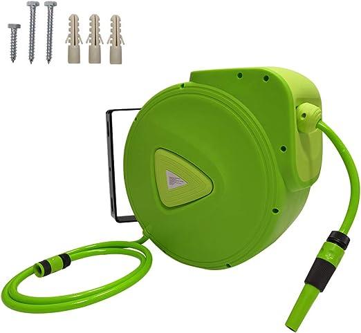 AUFUN Carrete para Manguera de agua 20m Enrollador automático de Manguera con Conector de 3/4