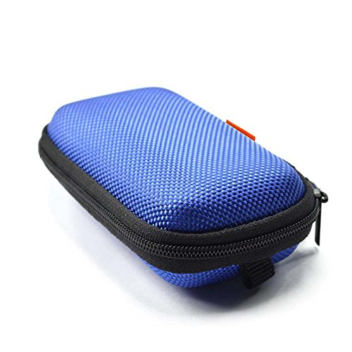 GLCON Rectangle Shaped Portable Protection Hard EVA Case,Mesh Inner Pocket,Zipper Enclosure Durable Exterior,Lightweight Universal Carrying Bag Wired/Bluetooth Headset Earbud Charger Change Purse,Blue