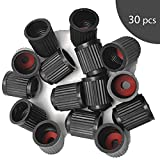 HX Online 30pcs Black Plastic Tire Valve Dust Proof Caps for Car, Motorbike, Trucks, Bike and Bicycle, Airtight Seal Screw-On Easy-Grip Use,Universal Stem Covers