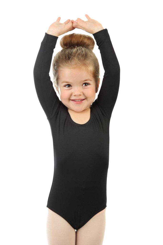 Size 2-14 Years Multiple Colors Elowel Kids Girls Basic Long Sleeve Leotard