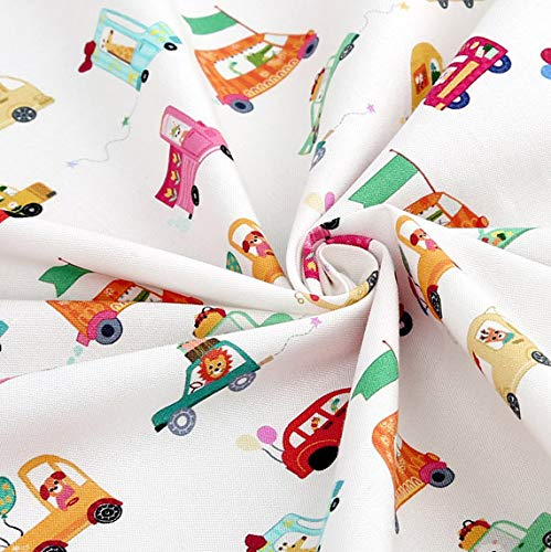 Cotton Fabric Car Fabric by The Yard 110cm Wide SY aniefran's Drive (White)