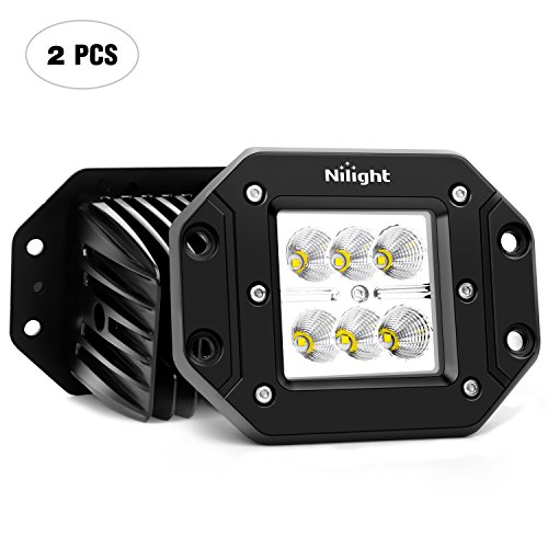 Nilight 2PCS 18W Flood LED Work Light Driving Lights Led Light Bar Off Road Led Lights Flush Mount for Jeep Truck Tacoma Bumper ATV UTV,2 Years Warranty