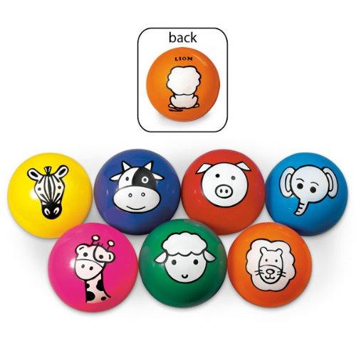 MAC-T PE07363E Aniball Soft Inflatable Ball, Animal Cartoon Characters, Grades K - 12, (Set of 7)
