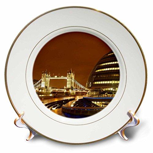 3dRose cp_82771_1 Tower Bridge, City Hall, London, England EU33 DWA0039 David Wall Porcelain Plate, 8-Inch
