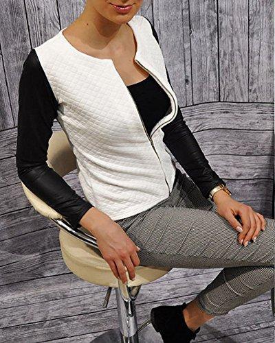 Sintetica Manica Bianco Cerniera Minetom Biker Con Donna Di Elegante Giacca Pu Cappotto Moda Lunga Splicing Lampo Pelle Da Motociclista CCwtHUvq