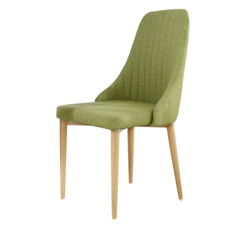 Cloth leather green Light metal legs Nordic Pu Leather Dining Chair, Imitation Wood Office Chair,Waterproof, Antifouling, Easy to Clean,for Restaurant Pub Cafe Living Room Hotel Balcony