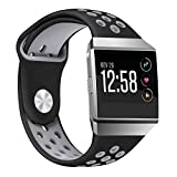 For Fitbit Ionic Sport Bands, bayite Soft Silicone Replacement Band Perforated Breathable Wristband Fashion Strap For Fitbit Ionic Fitness Smart Watch Accessories Black/Gray Women Men