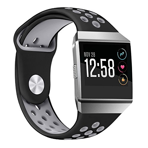bayite Soft Silicone Sport Bands Compatible Fitbit Ionic Replacement Band Perforated Breathable Accessories Wristband Women Men Black/Gray