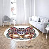 AngelDOU Bedroom Chair Rugs Non-Slip Door Round Mat Venetian Carnival Mask Silhouette with Ornamental Elements Masquerade Costume Decorative Toilet Bath Decorate Carpets.