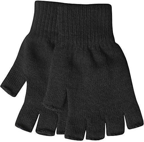 Warme thermogebreide winterhandschoenen voor heren vingerloze