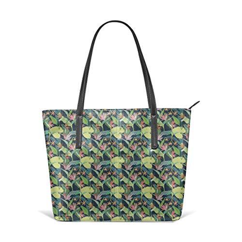 Tropical bird of paradise Leather Tote Large Purse Shoulder Bag Portable Storage HandBags Convenient Shoppers Tote