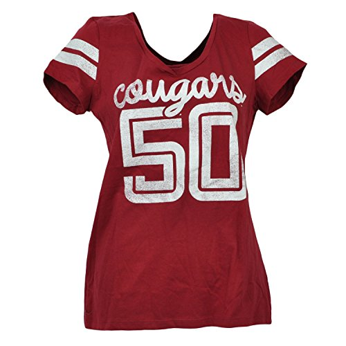NCAA Washington State Cougars V Neck Striped Short Sleeve Burgundy Tee 2XLarge - Washington State University Clothing