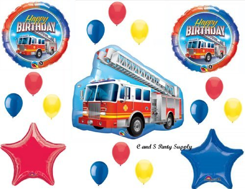 FIRETRUCK Engine Happy Birthday PARTY Balloons Decorations Supplies Fire fighter by Anagram -