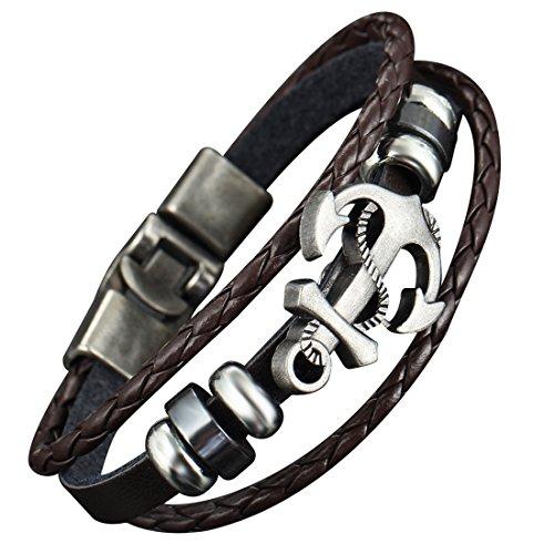 Alloy Boat Anchor Leather Bracelet - 6