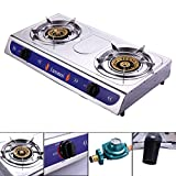 double portable gas stove - JAXPETY Portable 2 Double Burner Outdoor Cooking Stove W/Hose & Regulator
