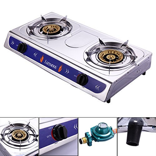 JAXPETY Portable 2 Double Burner Outdoor Cooking Stove W/Hose & Regulator