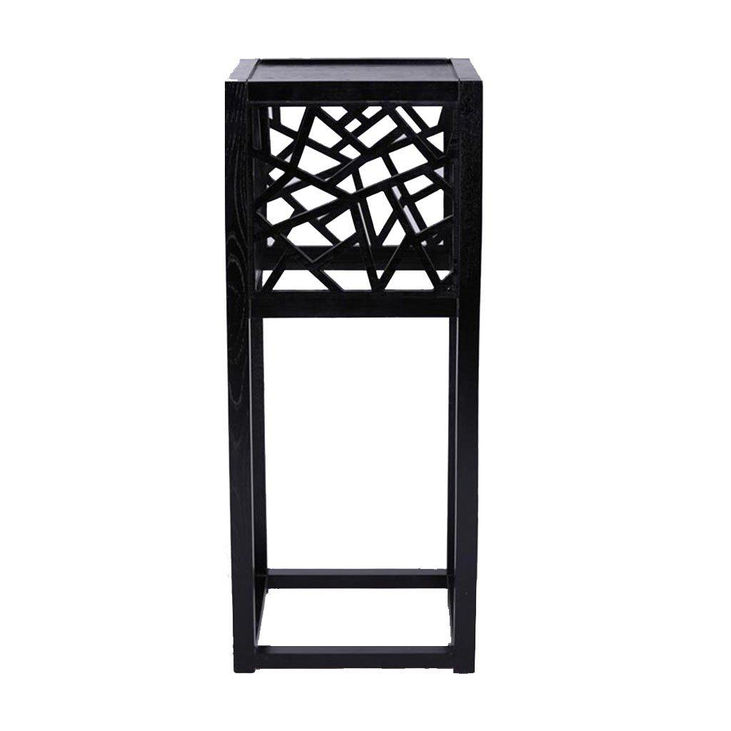 ZX フラワースタンド園芸ラック ソリッドウッドフラワーシェルフシンプルな家具リビングルームの研究茶色の花のディスプレイラック (色 : ブラック) B07DPNY8M1  ブラック