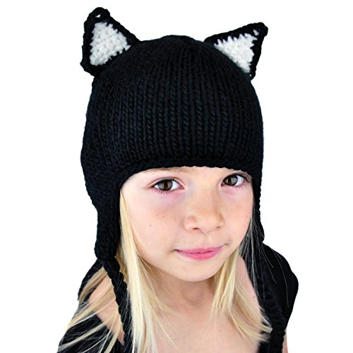 Girls Cat Beanie Hat with Ears - Ski Snowboard Knit Toque Womens Christmas