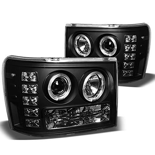 Xtune 2007-2014 GMC Sierra Dual Halo LED Projector Headlights Black Head Lights Lamp Pair L+R 2008 2009 2010 2011 2012 2013
