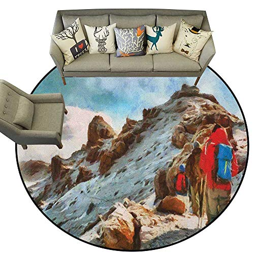 - Mountain,Throw Round Rugs Group of Trekkers Hiking Among Snows of Kilimanjaro in Winter in Painting Style D78 Study Room Kids Floor Mat Carpet