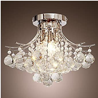 Chrome finish crystal chandelier with 3 lights amazon lighting mozeypictures Choice Image