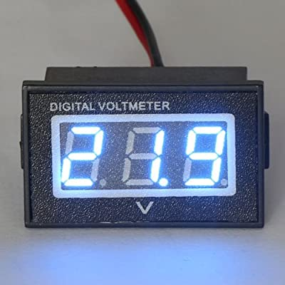 "DROK 0.56"" Waterproof DC 15-120V Digital Voltmeter Voltage Measurement Gauge Blue/Green LED Panel 24V Volt Meters"