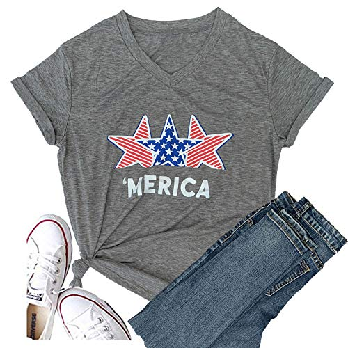 Hellopopgo Women Faith Family Freedom USA American Flag Lips Shirt Short Sleeve Graphic Tees Funny T Shirts Summer Tops (Medium, Star-Grey)