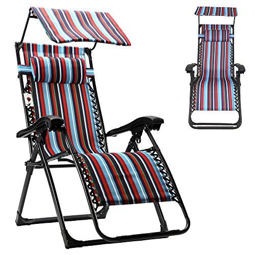 FLAMROSE Zero Gravity Stylish Recliner Outdoor Patio Pool Beach Chair