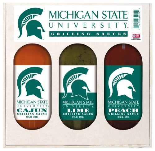 Michigan State Spartans NCAA Grilling Gift Set (12oz Cajun, 12oz Lime, 12oz Peach) by Hot Sauce Harry's ()