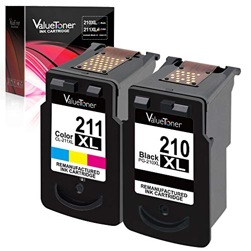Valuetoner Remanufactured Ink Cartridge Replacement for Canon PG-210XL CL-211XL to use with PIXMA IP2702 IP2700 MP230 MP240 MP250 MP270 MP280 MP480 MP490 MP495 MP499 MX320 MX330 MX340(1 Black,1 Color)