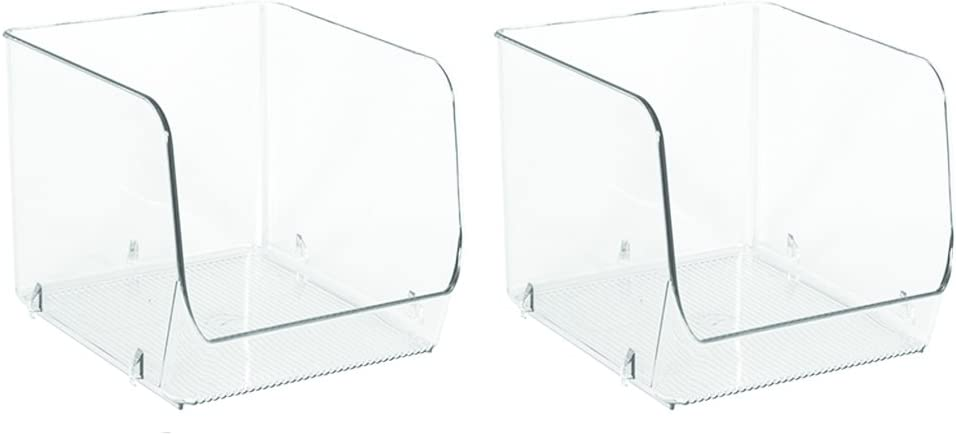 """iDesign Linus Plastic Stacking Storage Organizer Bin, Container for Food, Drinks, Produce Organization in Kitchen, Pantry, Bathroom, Bedroom, Office, 6"""" x 6.25"""" x 5.25"""", Set of 2, Clear"""