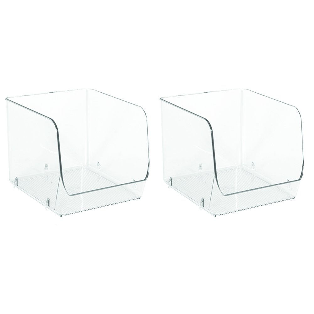 InterDesign Linus Stacking Organizer Bins for Kitchen, Pantry, Office, Bathroom - Small, Clear 65070