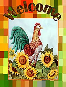 Caroline's Treasures PJC1056GF Welcome Rooster Flag, Small, Multicolor