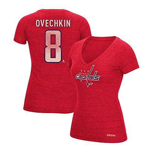 CCM Alexander Ovechkin Washington Capitals V-Neck N&N Jersey T-Shirt Women's