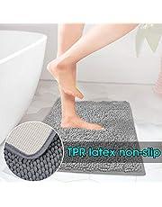 ELOKI Bathroom rug, Bath mat Non-slip microfiber shower rug 80cm x 50cm Washable Chenille Bathroom mat Grey