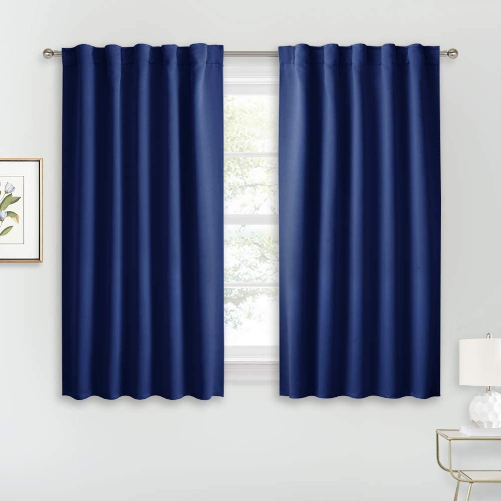 RYB HOME Kitchen Window Curtains - Blackout Curtains for Bedroom Room Darkening Draperies with Top Rod Pocket & Back Loops 2 Hanging, 42-inch Wide by 45-inch Long, Navy Blue, 1 Pair