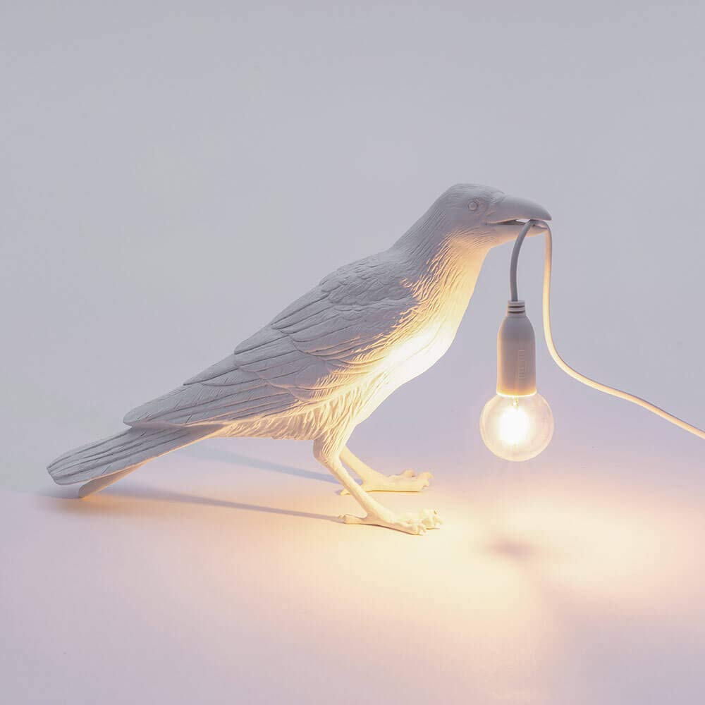 Seletti Bird Lamp Waiting l/ámpara de mesa cuervo blanco