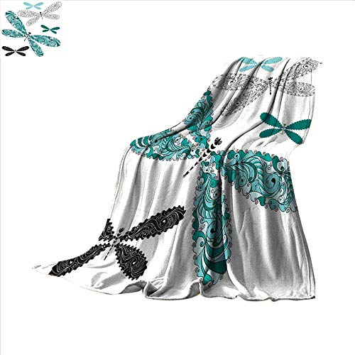 "smallbeefly Dragonfly Super Soft Lightweight Blanket Ornamental Dragonfly Figures with Lace and Damask Effects Artsy Image Oversized Travel Throw Cover Blanket 50""x30"" Teal Turquoise Black"