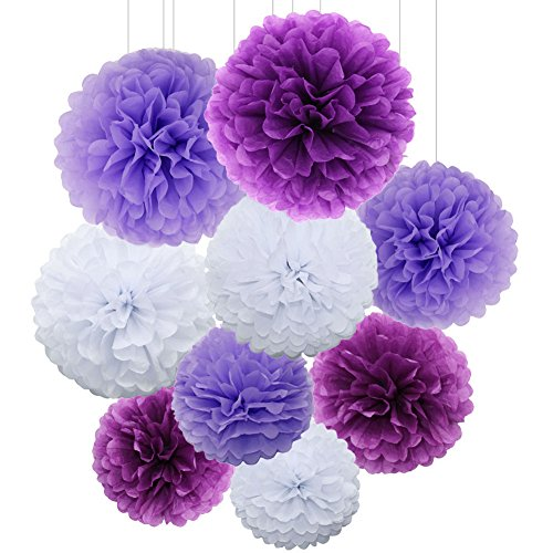 (SUNSWEI 18PCS 14 inch, 12 inch, 10 inch Tissue Paper Pom Poms, Tissue Flower Ball for Wedding Birthday Party and Baby Shower Decoration Premium Tissue Paper Pom Pom Flowers Craft Kit (Purple-White) )