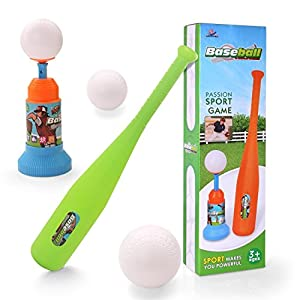 EXERCISE N PLAY Training Automatic Launcher Baseball Bat Toys - Indoor Outdoor Sports Baseball Games T-Ball Set for Children