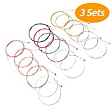 #4: Senkary 3 Sets of 6 Acoustic Guitar Strings Replacement Steel Strings for Acoustic Guitar (1 Gold Set, 1 Brass Set and 1 Multicolors Set)