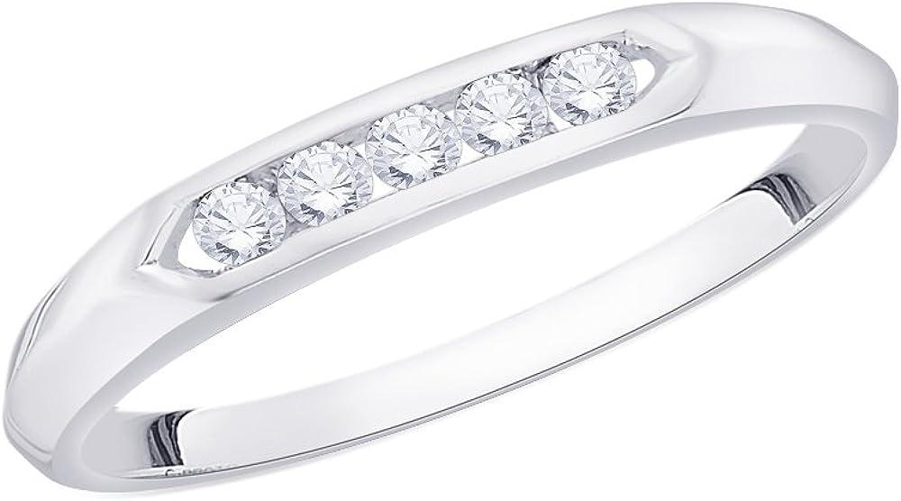 Size-3 Diamond Wedding Band in 10K White Gold G-H,I2-I3 1//8 cttw,