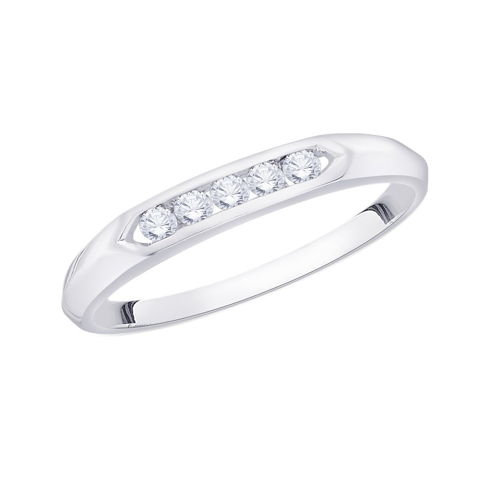 Diamond Wedding Band in Sterling Silver G-H,I2-I3 1//8 cttw, Size-12.75