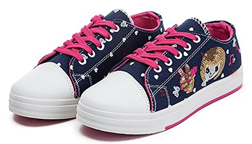 Sfnld Dames Sweet Ronde Neus Cartoon Lage Snit Contrast Stiksels Lace Up Canvas Sneakers Zwart