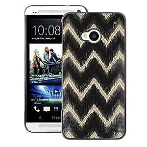 A-type Arte & diseño plástico duro Fundas Cover Cubre Hard Case Cover para HTC One M7 (Gold Black Reflective Pattern)